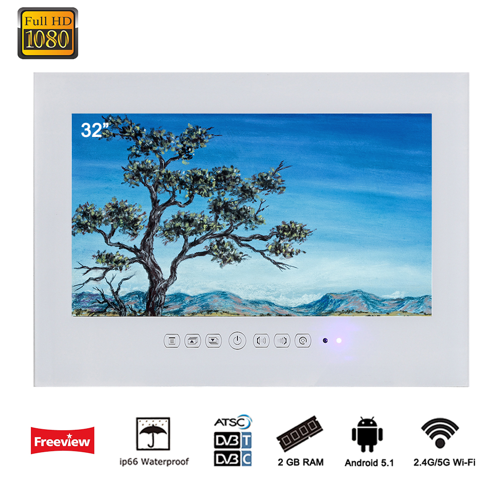 Souria 32 pollice Android 5.1 Astuto di WiFi 1080 p Bianco/Nero TV Bagno Doccia Camera IP66 Impermeabile Internet LED TV