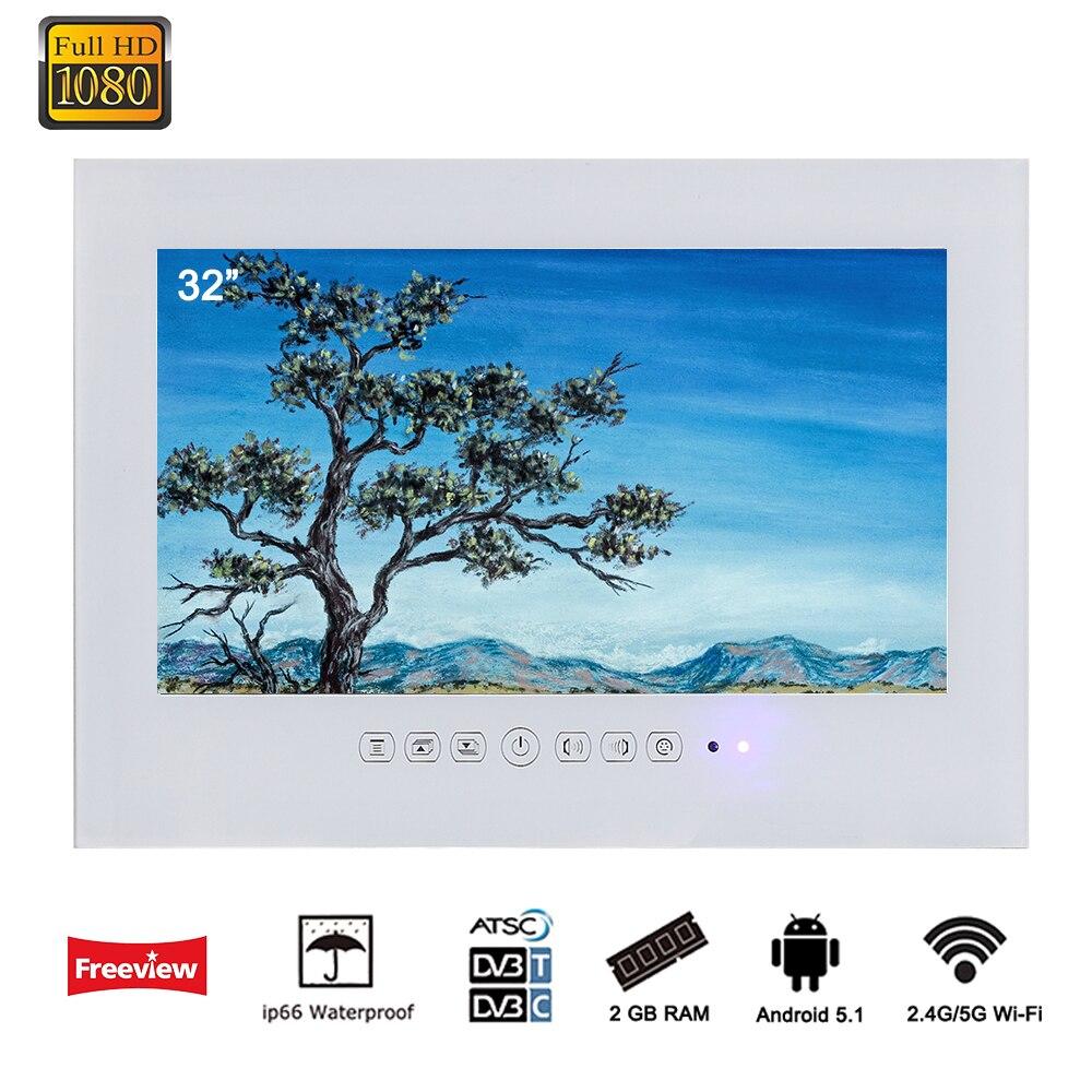Souria 32 pouce Android 5.1 Smart WiFi 1080 p Blanc/Noir Salle De Bains TV Salle De Douche IP66 Étanche Internet LED TV