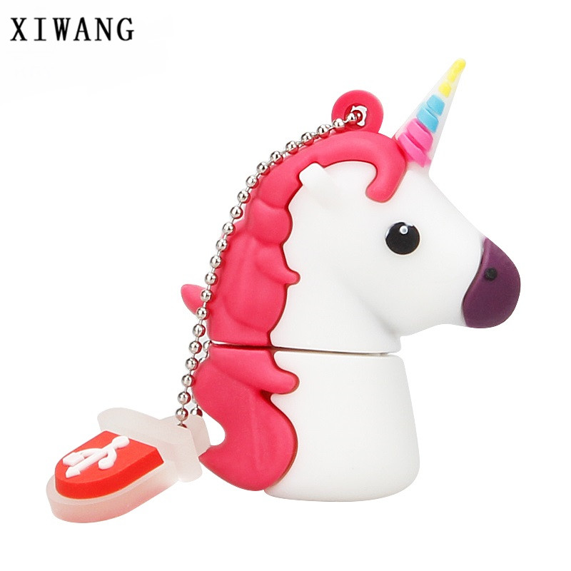 XIWANG 100% True Capacity Unicorn White usb Flash Drive 4G 8G 16G 32G 64GB Cute White Horse External Memory USB Flash Drive Gift