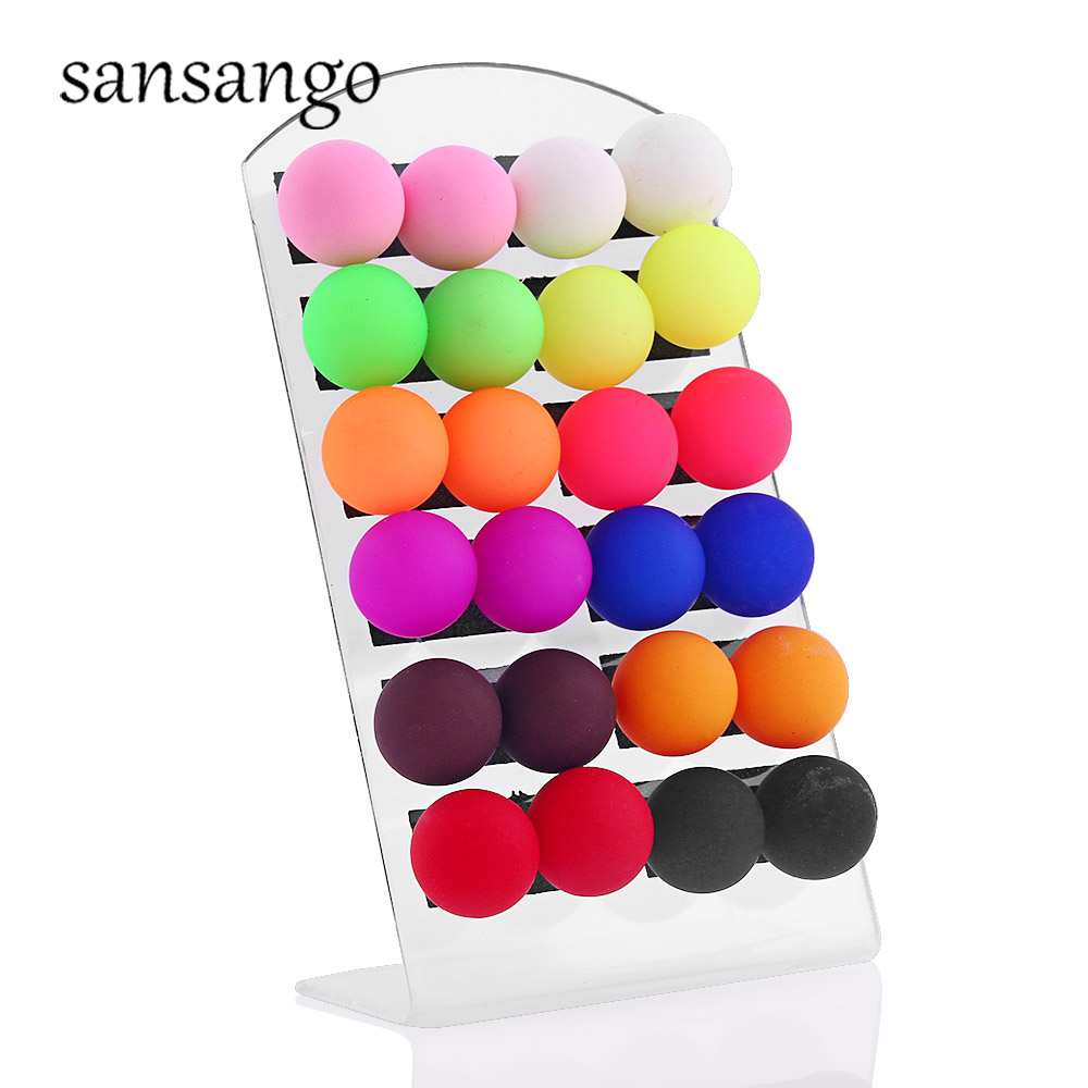 12pairs/card Multicolor Ball Stud Colorful Acrylic Earrings Ears Jewelry For Woman Girls Gift Jewelry