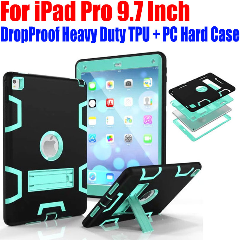 For iPad Pro 9.7 Inch Case Kids Safe Armor Drop Proof Heavy Duty Silicone TPU + PC Hard Cover + Screen Protector IPRS8