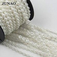 JUNAO 6 มม.ลูกปัดมุกสีขาวโซ่เจ้าสาว Applique Trim ไข่มุกรอบครึ่ง String Strass คริสตัลสำหรับงานแต่งงานตกแต่ง