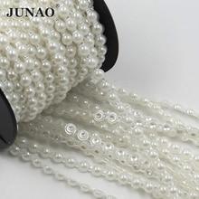 JUNAO 6mm לבן פנינת חרוזים שרשרת כלה Applique Trim חצי עגול פניני מחרוזת Strass קריסטל להקת למסיבת חתונה קישוט