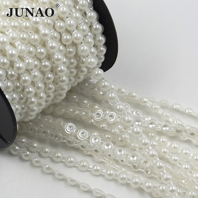 JUNAO 6mm White Pearl Beads Chain Bridal Applique Trim Half Round Pearls String Strass Crystal Band For Wedding Party Decoration