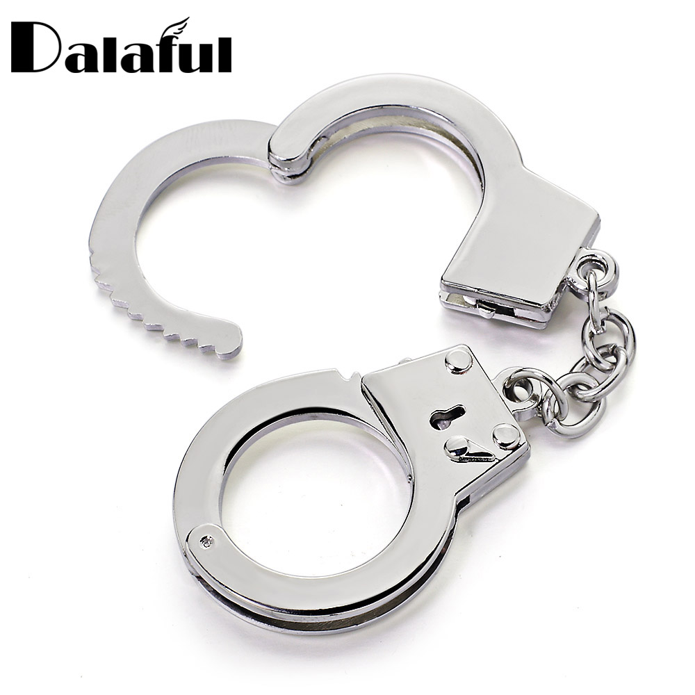 Dalaful Mini Size Handcuffs Keychain Keyring Metal Creative Simulation Handcuffs Model For Car Key Chain Ring Holder Gifts K363 creative handcuffs style keychain silver