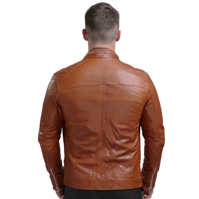 Pria Asli Jaket Kulit Musim Dingin Nyata Jaket Kulit Moto & Biker - Pakaian Pria - Foto 5