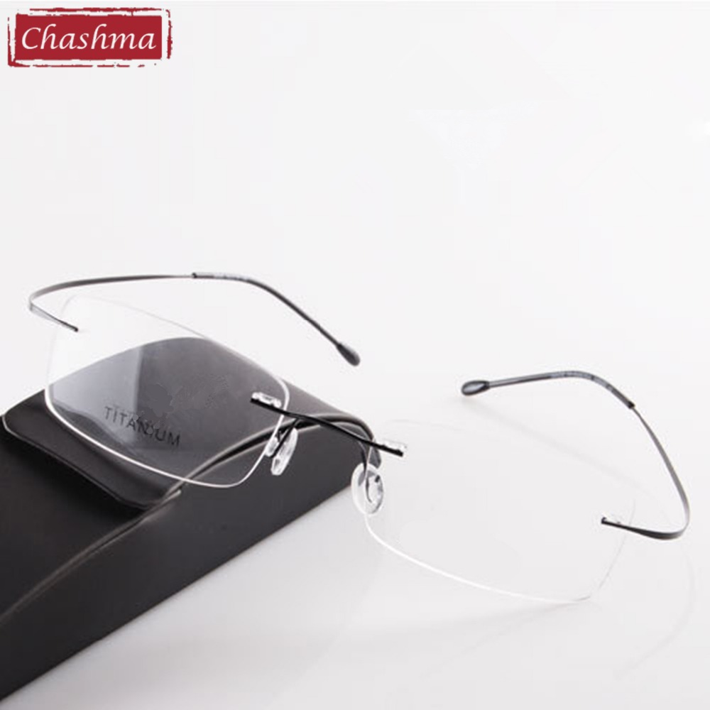 Chashma Brand Titanium Rimless Eye Glasses Läs Glasögon Ultra Light Myopia Optiska Glasögon Prescription Reading Glasses