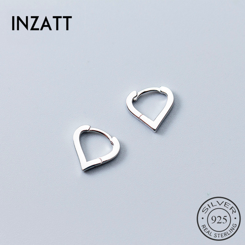INZATT Real 925 Sterling Silver Romantic Hollow Heart Minimalist Hoop Earrings For Women Wedding Party Jewelry Accessories GFit