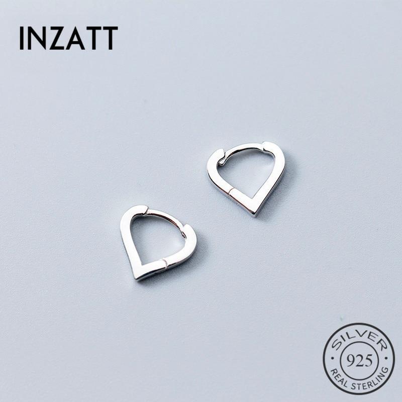 INZATT Real 925 Sterling Silver Romantic Hollow Heart Minimalist Hoop Earrings For Women Wedding Party Jewelry Accessories GFit