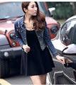 2016 летний топ мода женщина джинсовый Пальто Корейский Pure Color vintage отверстие шаблон письма bodycon твердые тонкий женщины куртки H7