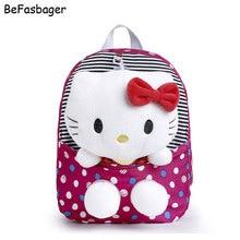 Классический Dot Cute Hello Kitty Рюкзаки Подарок для Детей Плюшевые Мультфильм Детский Сад Дети Нейлон Школьная Сумка с Съемный Кукла(China (Mainland))