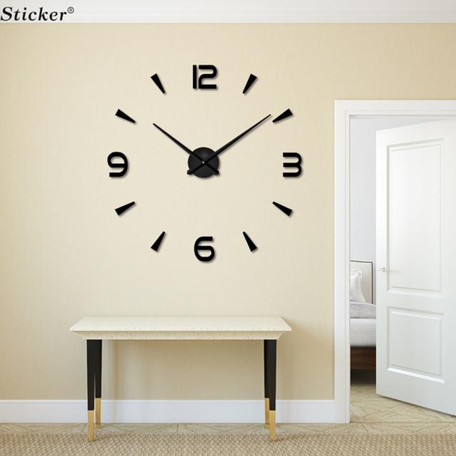 Design moderne 3d grand miroir horloges murales eva mousse - Horloge murale design grand format ...