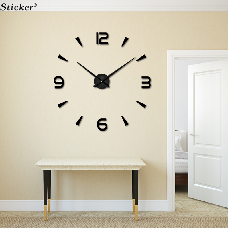 Modern design 3d big mirror wall clocks eva foam clock for Design wall clocks for living room