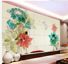 ceiling wallpaper Home Decoration Lily white flowers green floral mural 3d ceiling murals wallpaper(China)