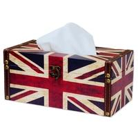 Scatola Del Tessuto di stile europeo Elegante Royal Durevole di Legno Americano/British flag Titolare della Scatola Del Tessuto Delle Famiglie per Home Office e auto