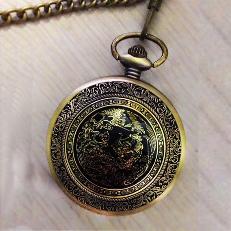 Large Bronze Table Cover Engraved Chinese Style Nostalgic Retro Big Dragon Pattern Pocket Watch With Necklace