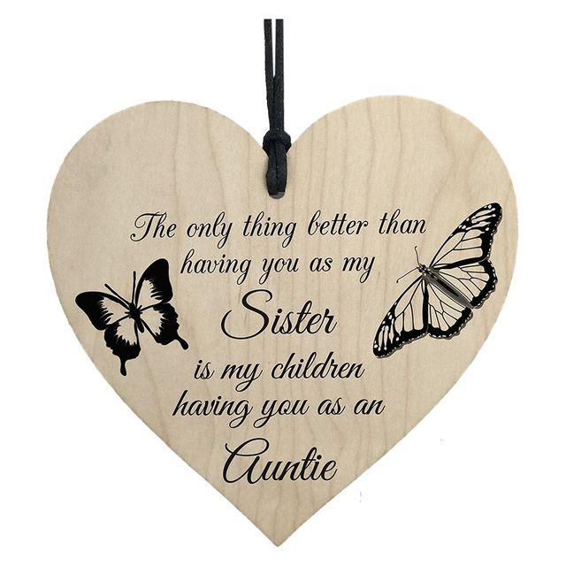 db37d67c0a Mi niños como su tía regalo de amor colgante de madera corazón tía señal