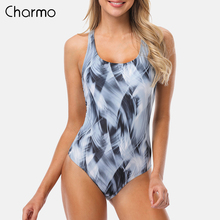 Charmo Women One Piece Sports Swimwear Watercolor print Sports Swimsuit Cutout Swimsuits Sexy color block bodysuit fitness slim все цены