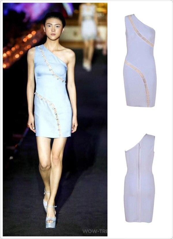 Nouvelle célébrité femmes robe une épaule bleu ciel bouton Mini robe de Bandage