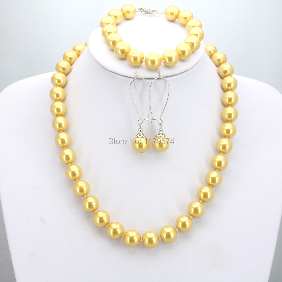 Shining Christmas Gifts Women Girls 12mm Yellow Round Shell Pearl Beads Necklace Bracelet Earrings Sets Jewelry Making Design