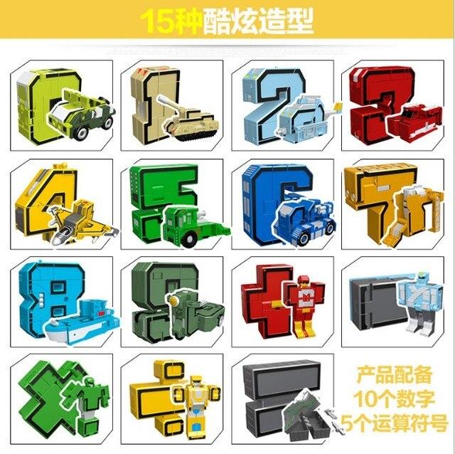 Gudi 15pcs Transform Number Robot Deformation Plane Car Kids Toys Finger cube Educational Action Figures Building Blocks Model