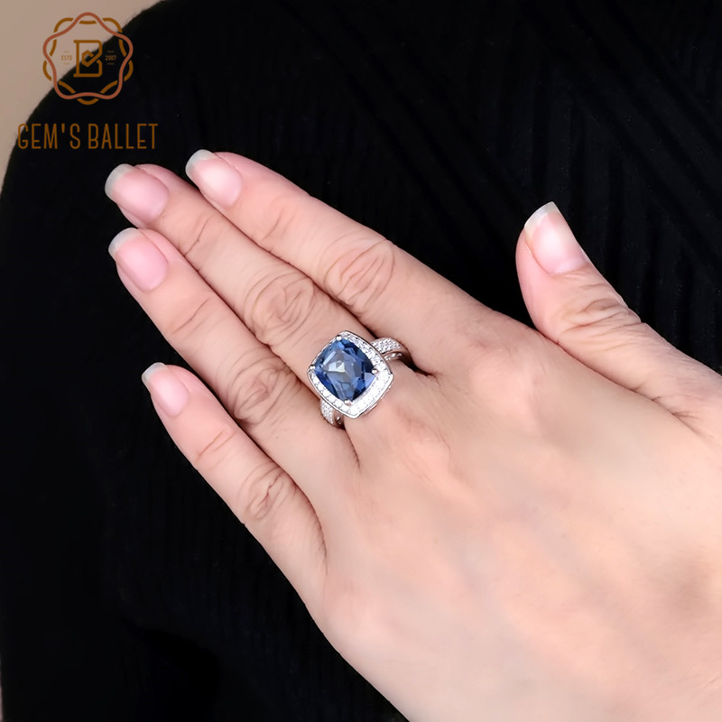 Gem's Ballet 6.22Ct Natural Iolite Blue Mystic Quartz Gemstone Ring 925 Sterling Silver Luxury Rectangle Rings For Woman Wedding