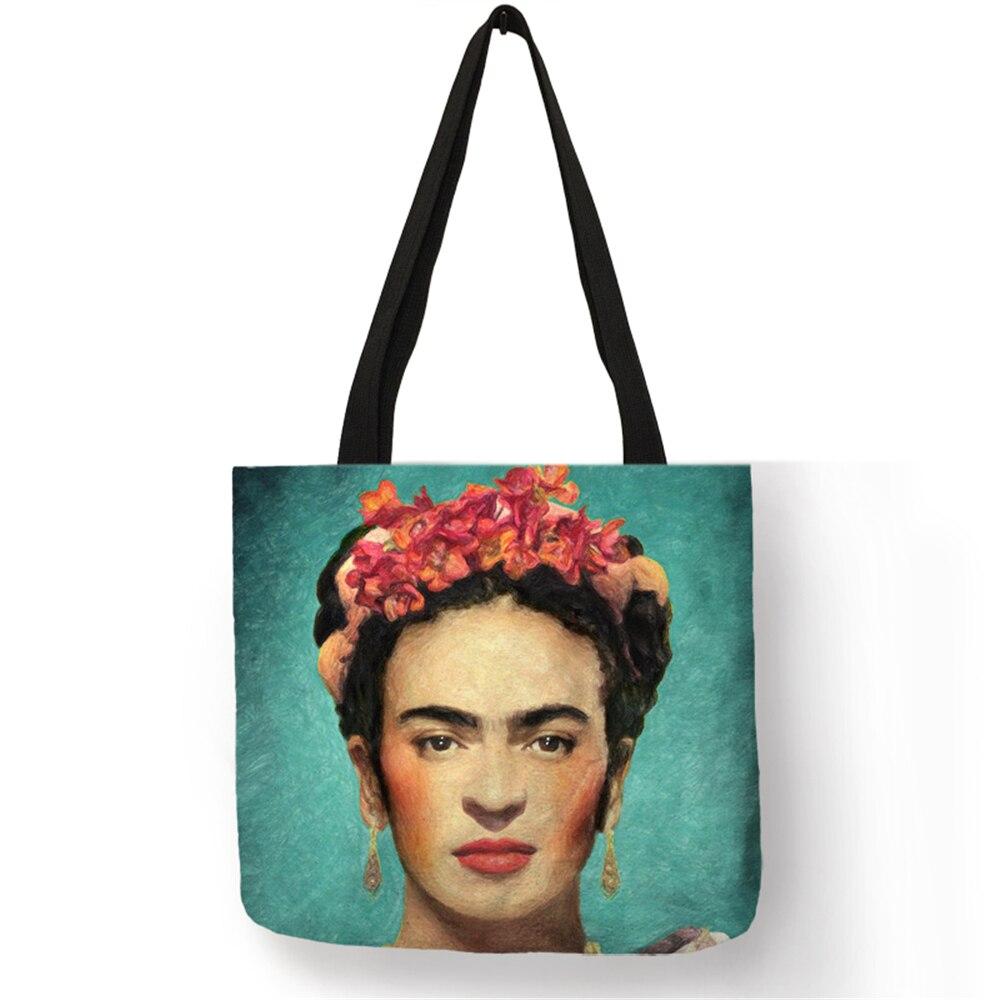 Home Travel Folding Storage Bag Clothes Food Frida Kahlo Print Eco Linen Shoping Bags Reusable Women Handbag Shoulder Bags