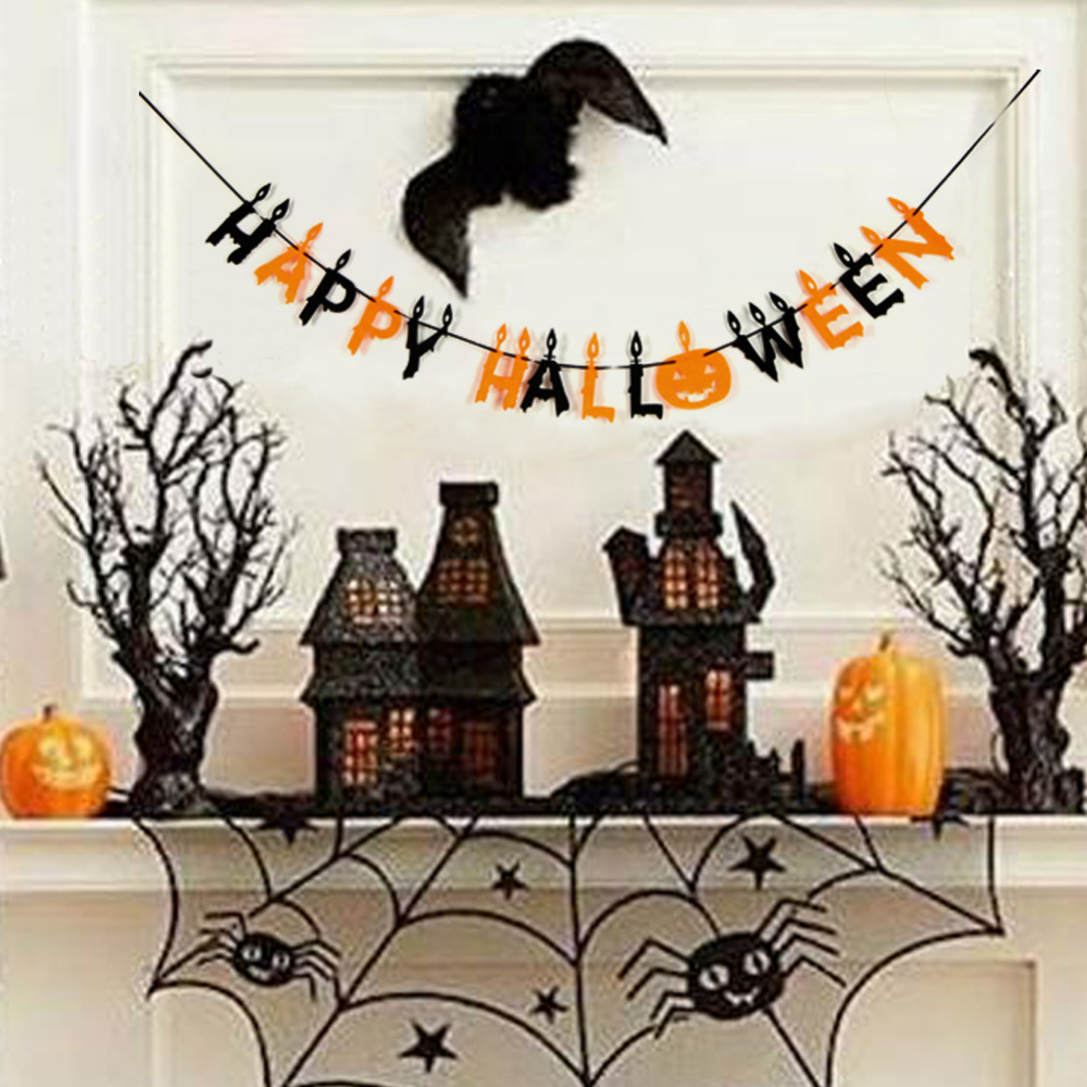 Happy Halloween Tips On Home Decoration 1: 2m Fabric Happy Halloween Garland Halloween Party Halloween Banner Party PhotoBackground Wall