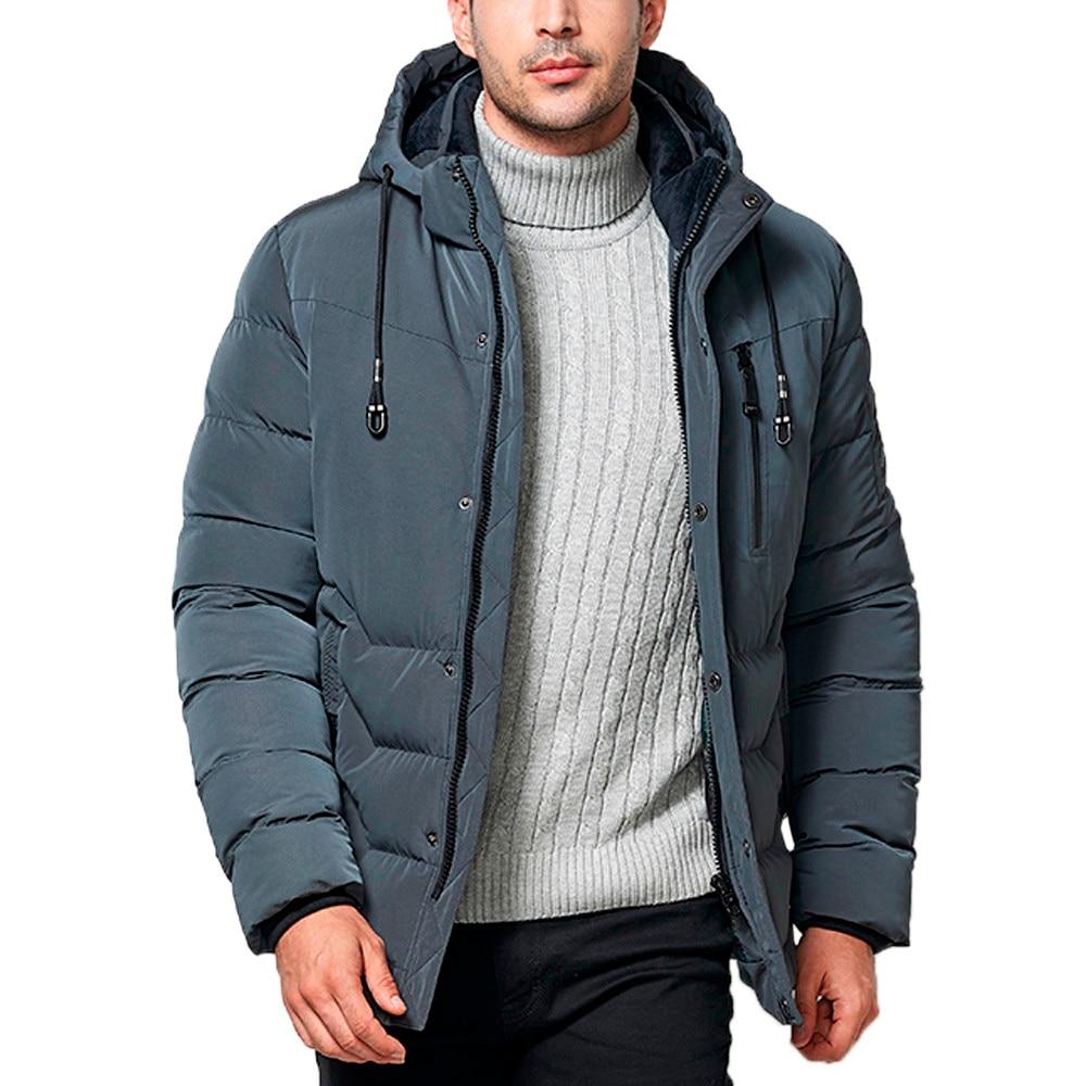 Et Manteaux gris Mode De Mâle D'hiver Veste bleu Solide Mens Stand Collier Vestes 2019 Hommes Épais Noir Parka Homme Hiver Parkas RX6FqOB