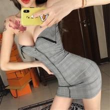 Новое Сексуальное Платье для ночного клуба с низким вырезом модное темпераментное ретро Тонкое эластичное короткое платье