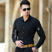 Plus Size S 3XL100 Cotton Men Shirts Tailoring Long Sleeve Slim Trendy Butterfly Printing Black Business