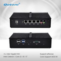 Qotom Mini PC Q300G4 Celeron i3 i5 i7 with 4 Gigabit NIC Support AES NI Pfsense as Router Firewall Fanless Small Computer PC Box