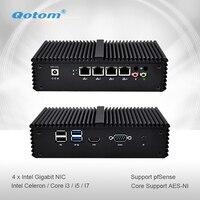 Qotom Mini PC Q300G4 Celeron i3 i5 i7 с 4 гигабитная Сетевая интерфейсная карта Поддержка AES-NI Pfsense как роутер с файрволом безвентиляторный маленький компьют...