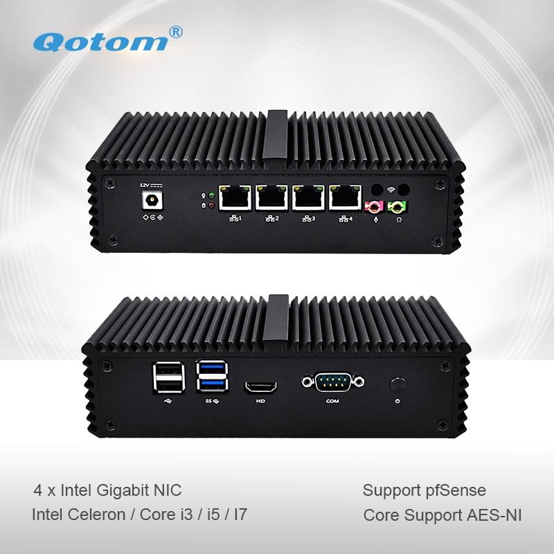 Qotom mini pc Q300G4 Celeron i3 i5 i7 avec 4 Gigabit NIC Soutien AES-NI Pfsense comme Routeur Pare-Feu Sans Ventilateur Petit Ordinateur PC Boîte