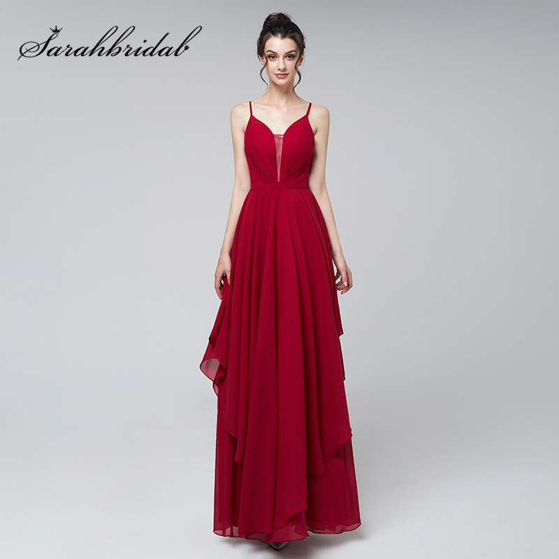Simple A-Line Prom Dresses Burgundy Chiffon V-Neck Pleat Evening Party Gowns Cheap Backless Long Custom Dress L3170