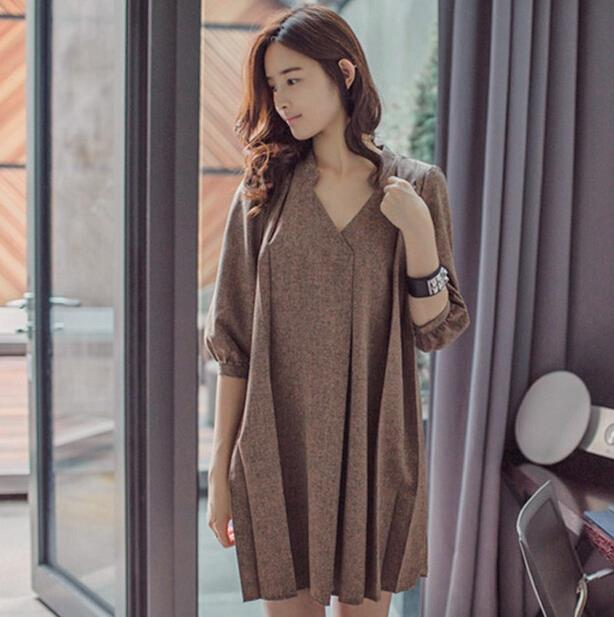 83cbcc7bca7 New 2015 Vestido Summer Dress Brown Half Sleeve V Neck Squirrel Solid Slim  Fit Semi Formal Elegant Dress plus size 61-in Dresses from Women s Clothing  on ...