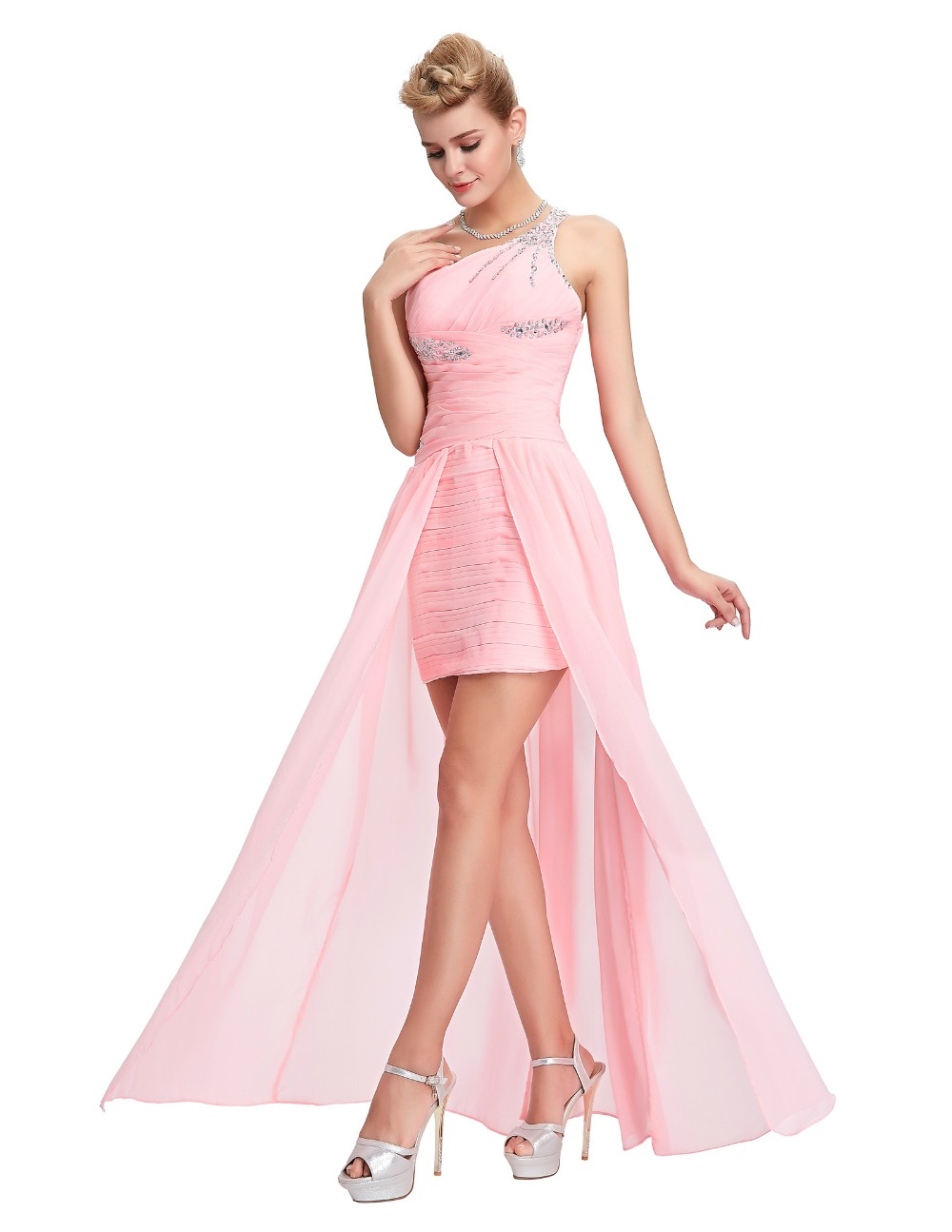 Light Pink Bridesmaid Dresses Grace Karin Beaded Chiffon One Shoulder Formal Gowns Short Front Long Back Wedding Party Dresses 11