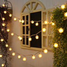 Romantic Christmas Led Plush ball String Lights New Year Decoration For Tree Garden Party Yard Warm White Light(China)