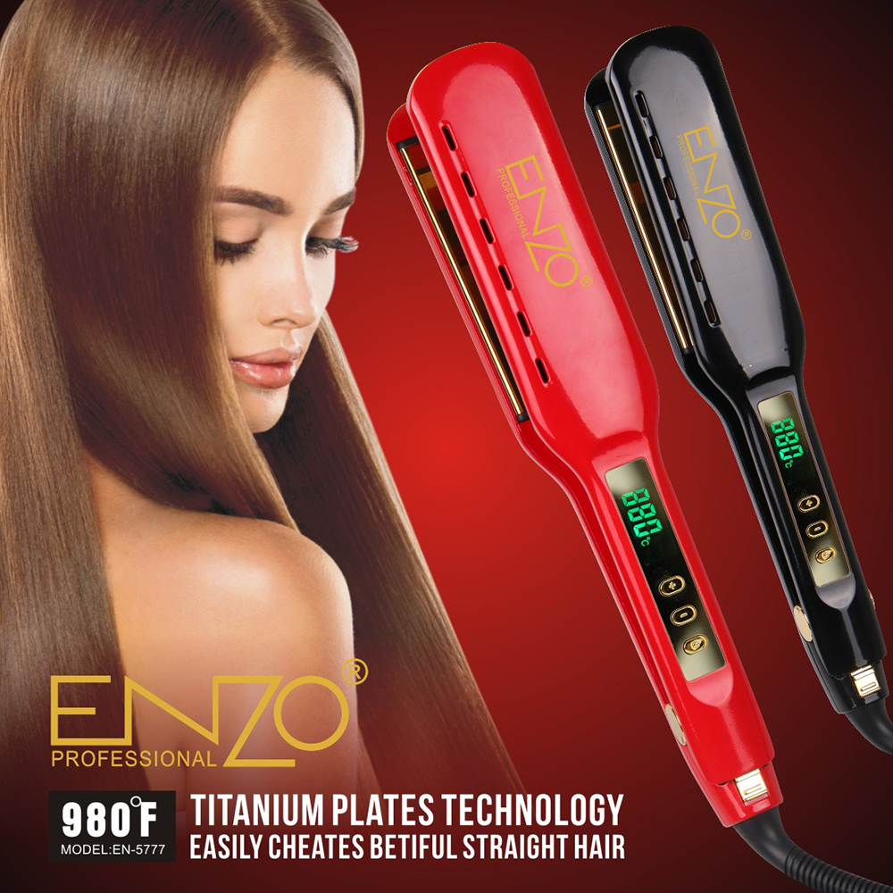 ENZO Salon LCD Display Hair Straightener chapinha Professional Ceramic Flat Iron Negative Ion Straightener Iron