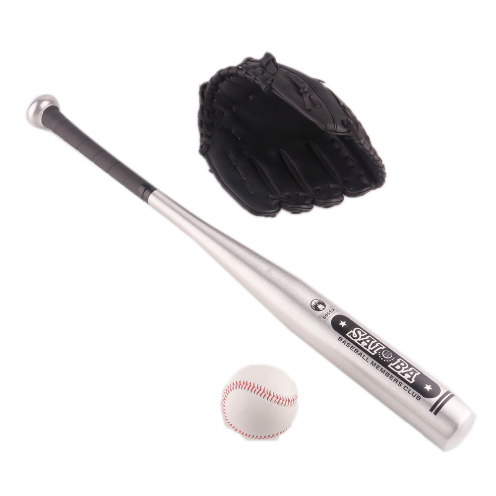 1set Aluminum Beisbol Baseball Bat Glove Ball Bate Taco Basebol Beisebol Hardball 24 Inches For kids