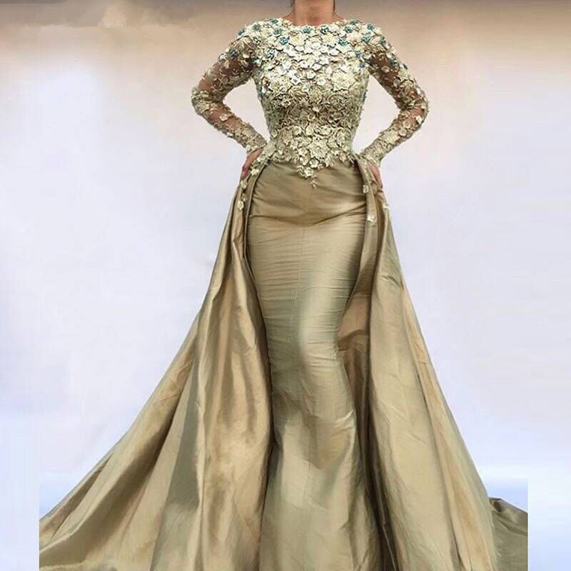Saudi Arabic Mermaid Evening Dress Long Sleeves 2019 Elegant Kaftan Dubai Moroccan Prom Dresses With Over Skirt Train Party Gown Weddings & Events
