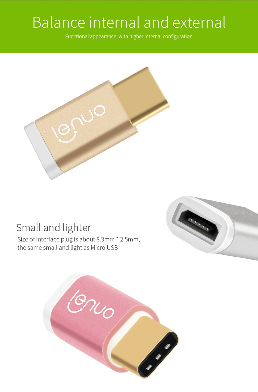 USB 3.1 Type C Male to Micro USB Cable Adapter For LeEco Le Pro3
