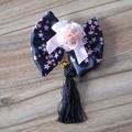 Estilo chino Borla Negro Rosa flores de Cerezo Impreso Arco Lolita Tocado/Corbatas/Broche
