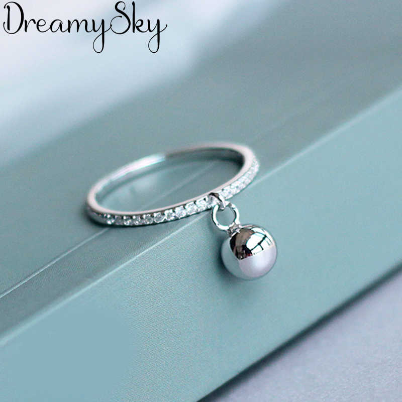 Korean Fashion 925 Sterling Silver Ball Adjustable Size Rings For Women Ladies Luxury Jewelry Trendy Antique Ring Anillos