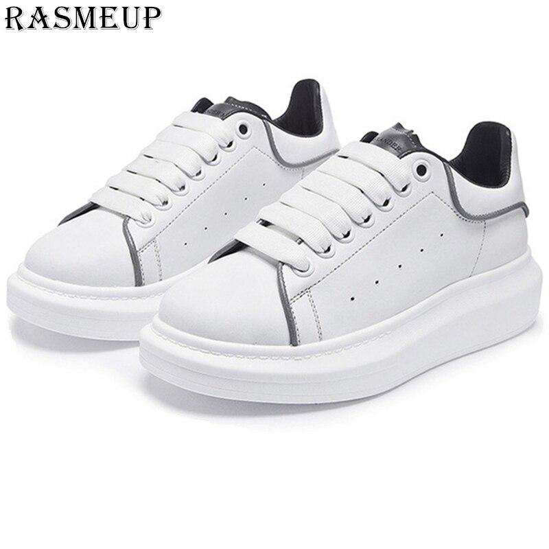 RASMEUP Leather Reflective Women s White Sneakers Plus Size Fashion Women Platform Trainers 2019 Brand Casual