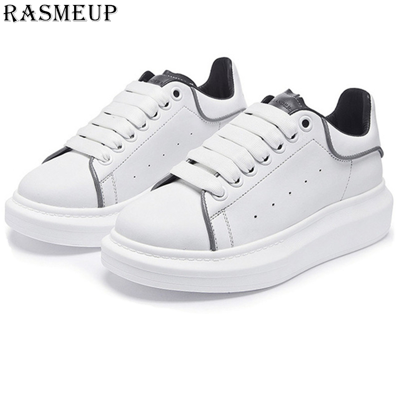 Genuine Leather Reflective Women's White Sneakers Plus Size Fashion Wom