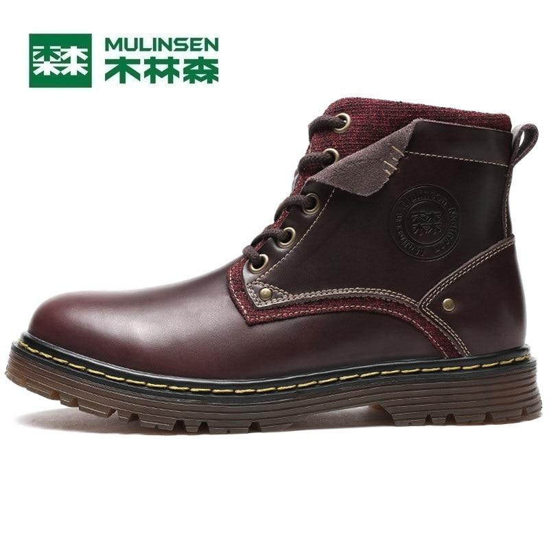 Mulinsen Brand New Winter Men Sports Hiking Shoes Cowhide inside Keep warm Sport Shoes Wear Non-slip Outdoor Sneaker 250666 mulinsen latest lifestyle 2017 autumn winter men