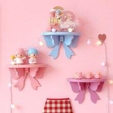 Handmade decorative wooden wall shelf bow shape hanging rack Storage Holder  organizer home decoration accessories