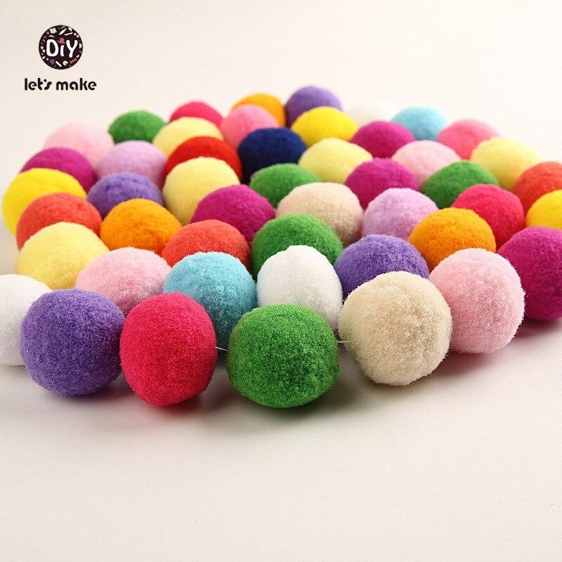 Prix pour Let's Faire 100 pc/lot Peluche Ballon estimé Balles Molles Fluffy Balls Motif Facile polypropylène décoration De Noël À Tricoter balle Perles