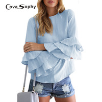 Covasophy 2017 New Fashion Women Tops Summer And Spring Petal Sleeve Blouses Fashion O Neck Shirts